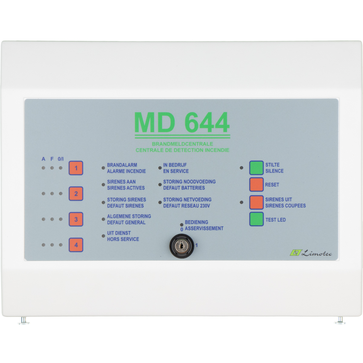 MD644 - 4-zone fire alarm control panel